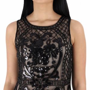 Rochie Jayda Champagne - Rochie elegantă cu material decorat cu paiete, pune-ți silueta în evidență și atrage toate privirile - Deppo.ro
