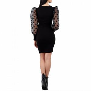 Rochie Kathleen Neagră - Rochie neagră elegantă  Cu mănecă bufantă din plasă , asortată cu buline  Completează-ți ținuta și strălucește la următoarea petrecere.  Compoziţie:  95% poliester  5% elastan - Deppo.ro