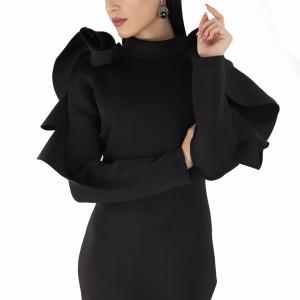 Rochie Viona Neagră - Rochie cu volane pe umeri, simte-te atrăgătoare si misterioasă purtând rochia Viona și atrage toate privirile la urmatoarea petrecere. - Deppo.ro