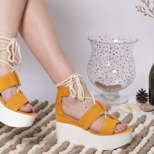 Sandale cu platforma cod KFL 820 Yellow
