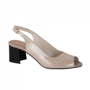 Sandale din piele naturală pentru dame cod 171572 Krem Sedef