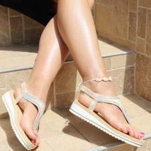 Sandale pentru dame cod B73 Beige