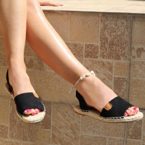 Sandale pentru dame cod F22 Black - Sandale pentru dama din piele ecologică întoarsă Calapod comod - Deppo.ro