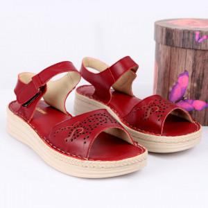 Sandale pentru dame din piele naturală cod 095 Vis - Sandale pentru dama din piele naturală Închidere prin scai Calapod comod - Deppo.ro