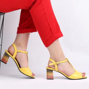 Sandale pentru dame din piele naturală cod 1221 Galben