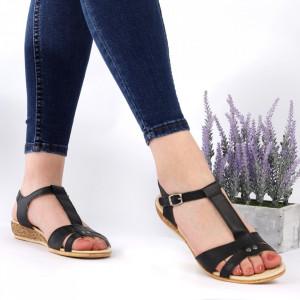 Sandale pentru dame din piele naturală cod 544T Black