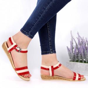 Sandale pentru dame din piele naturală cod 9902 Red