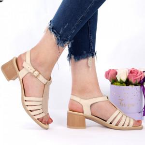 Sandale pentru dame din piele naturală cod CS02 Bej