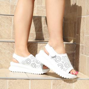 Sandale pentru dame din piele naturală cod PL2014 White