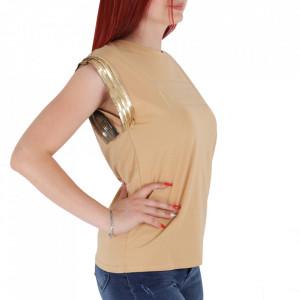 Tricou pentru dame cod TY112 Bej - Tricou pentru dame  Model decorativ cu paiete  Conferă lejeritate și o ținută casual - Deppo.ro