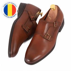 Pantofi din piele naturală cod 179 Maro