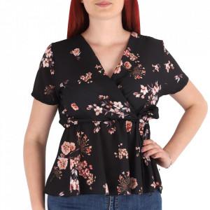 Bluză pentru dame cod BCRS2 Black - Bluză pentru dame Model decorativ floral - Deppo.ro