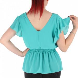 Bluză pentru dame tip cămășuță cod 1938 Turcoaz - Bluză tip cămășuță pentru dame  Model decorativ cu dantelă  Decolteu in V - Deppo.ro