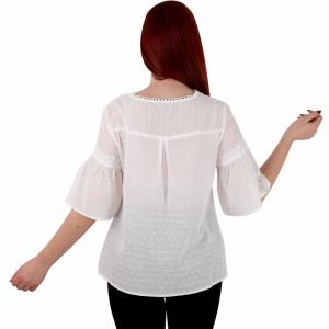 Bluziță tip iie simplă albă Alisa - Bluziță tip ie simplă, un design tradițional care poate fii purtată atât cu o pereche de pantaloni lungi cât și la o fustiță - Deppo.ro