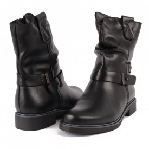 Cizme din piele naturală cod 2622 Black - Cizme din piele naturală ideale pentru sezonul rece Închidere prin fermoar Calapod comod - Deppo.ro