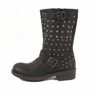Cizme Holmms Black - Cizme din piele ecologică cu toc și cu un design abstract cu inserții metalice - Deppo.ro