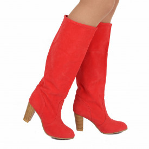 Cizme Joanna Pink - Cizme lungi cu toc elegante - Deppo.ro