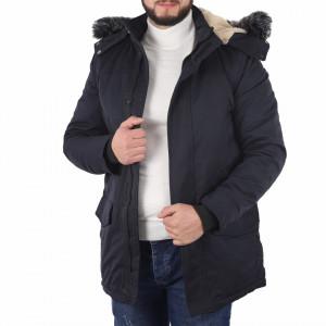 Geacă Barbus Bleumarin - Geacă cu guler şi interior îmblănit pentru iarnă/primavară, buzunare laterale și închidere cu fermoar. - Deppo.ro