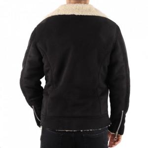Geacă Roq Black - Geacă scurtă cu guler îmblănit, interior căptuşit, pentru iarnă/primavară, buzunare laterale și închidere cu fermoar. - Deppo.ro