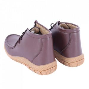 Ghete din piele naturală cod PL-2103 Coffee - Ghete din piele naturală cu inchidere prin șiret, stil casual. - Deppo.ro