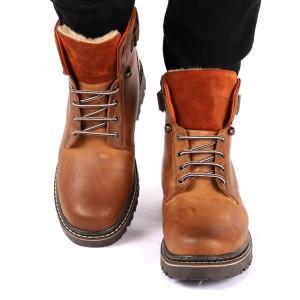 Ghete din piele naturală Leroy Maro - Ghete din piele naturală cu interior îmblănit și inchidere cu șiret și scai in partea posterioara - Deppo.ro