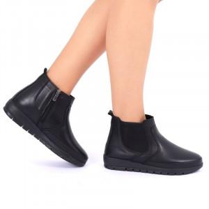 Ghete din piele naturală pentru dame cod 190 Negre - Ghete din piele naturală cu interior căptușit și Închidere cu fermoar - Deppo.ro
