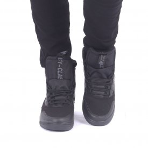 Ghete Sport cod 1521 Negre - Ghete sport îmblănite, din piele ecologică, foarte confortabil cu un calapod comod și închidere cu șiret - Deppo.ro