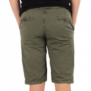 Pantaloni scurți pentru bărbați cod KS22-145 ArmyGreen - Pantaloni  casual pentru bărbați din material ușor elastic, de culoare khaki - Deppo.ro