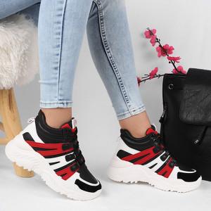 Pantofi cod HMM15 Negri - Pantofi sport pentru dame cu talpă înaltă din piele ecologică cu închidere prin șiret - Deppo.ro