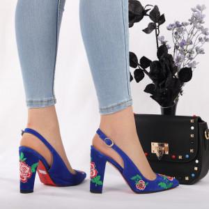 Pantofi cu toc cod 7706 Albaștri - Pantofi cu toc din piele ecologică cu un design unic. Fii în pas cu moda şi străluceşte la următoarea petrecere. - Deppo.ro