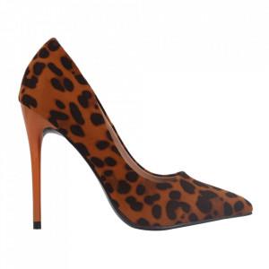 Pantofi cu toc cod EK0098 Camel