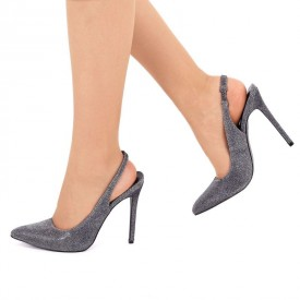 Pantofi cu toc cod HZ8067A Negri - Pantofi negrii cu imprimeu sclipitor, din piele ecologică de înalta calitate - Deppo.ro