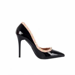 Pantofi cu toc cod LL76 Negri - Pantofi cu vârf ascuţit şi toc subţire din piele ecologică, foarte confortabili cu un calapod comod - Deppo.ro