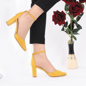Pantofi cu toc cod OD0089 Galbeni - Pantofi cu toc din piele ecologică întoarsă cu un design unic și închidere prin baretă, fii în pas cu moda şi străluceşte la următoarea petrecere. - Deppo.ro
