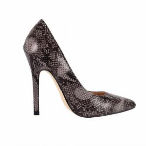 Pantofi cu toc cod Q182471 Negri - Pantofi din piele ecologică, cu vârf ascuţit şi toc subţire, foarte confortabili cu un calapod comod - Deppo.ro