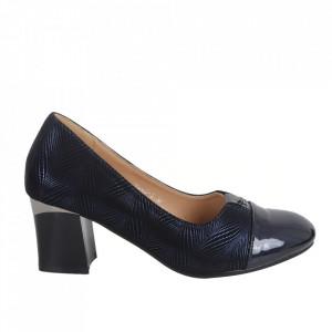 Pantofi cu toc din piele ecologică cod 9005-3 Blue