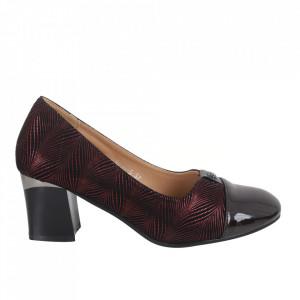 Pantofi cu toc din piele ecologică cod 9005-3 Claret