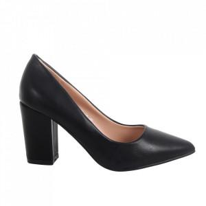 Pantofi cu toc din piele ecologică cod 920-35 Black