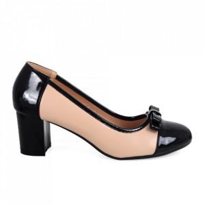 Pantofi cu toc din piele ecologică cod C-97 Apricot/Black