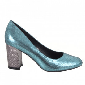 Pantofi cu toc din piele ecologică cod C-99 Green
