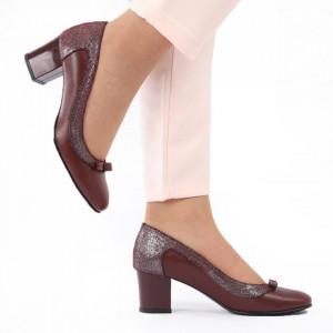 Pantofi cu toc din piele naturală cod 1062 Bordo - Pantofi cu toc din piele naturală moale, foarte comozi, acești pantofi vă conferă lejeritate și eleganță - Deppo.ro