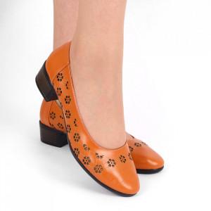 Pantofi cu toc din piele naturală Cod 1141 Portocali