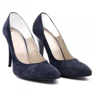 Pantofi Cu Toc din piele naturală cod R007 Albaştri