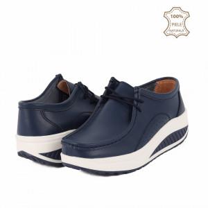 Pantofi din piele naturală A2252 Navy