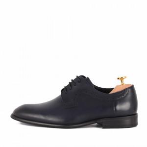 Pantofi din piele naturală Alfonzo Albastru - Pantofi din piele naturală, model simplu, finisaje îngrijite cu undesign deosebit și închidere prin șiret - Deppo.ro