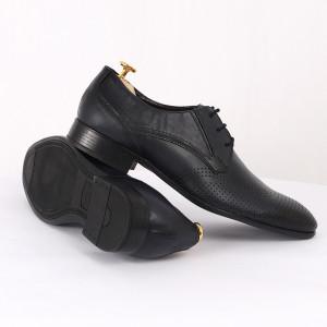Pantofi din piele naturală bleumarin închis cod 3294 - Pantofi pentru bărbaţi din piele naturală cu şiret, model simplu, finisaje îngrijite cu un design deosebit - Deppo.ro