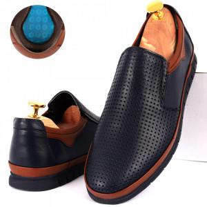 Pantofi din piele naturală Cod 1001-1 Navy