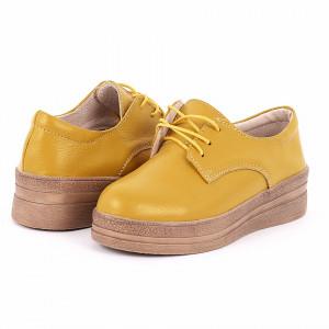 Pantofi din piele naturală cod 1012 Galbeni