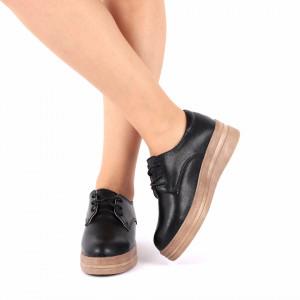 Pantofi din piele naturală cod 1012 Negri - Pantofi negrii pentru dame din piele naturală cu talpă flexibilă - Deppo.ro