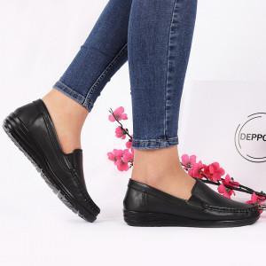 Pantofi din piele naturală cod 118420 Negri